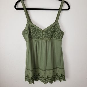 Lucky Brand Spaghetti Strap Olive Top 0115